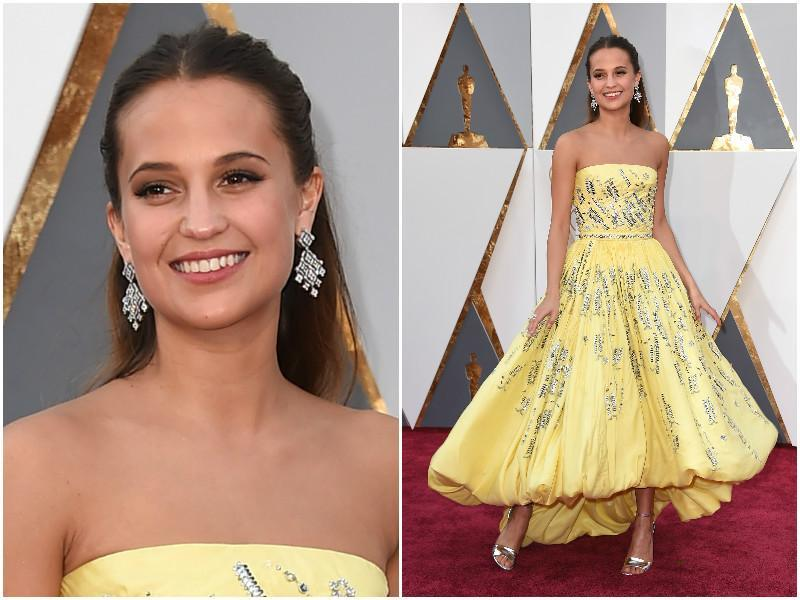 Oscar nominee for The Danish Girl, Alicia Vikander looks like Princess Belle from Beauty and the Beast. (AP)