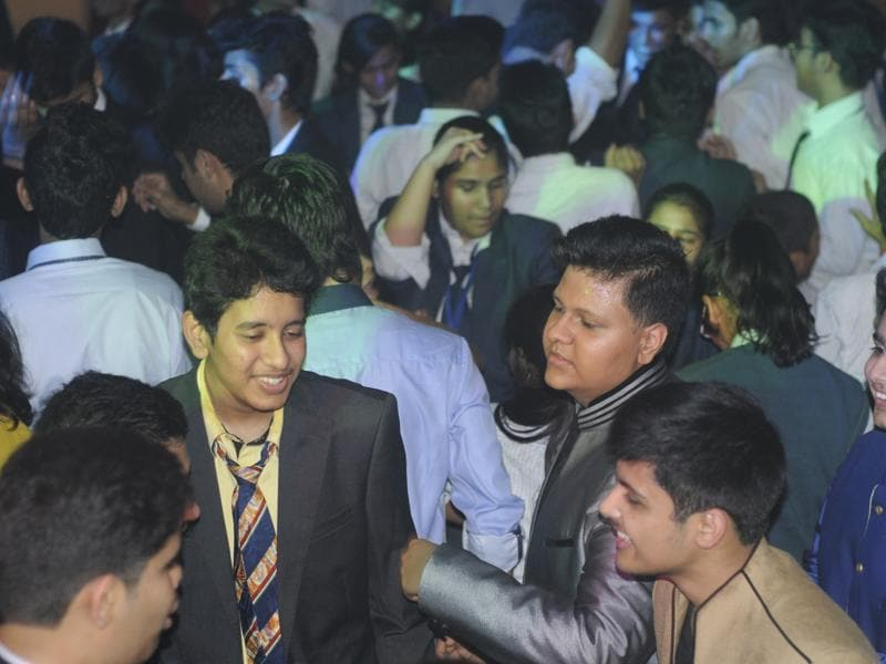 To get relief from the stress of studies, CBSE students attended a good luck party in The City School in Lucknow on Saturday .   (Deepak Gupta/ HT photo)
