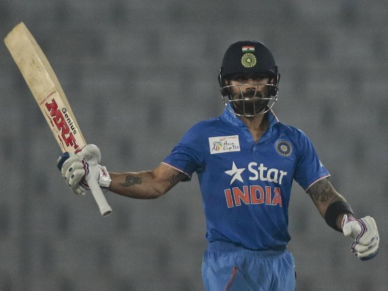 India's Virat Kohli acknowledges the crowd after scoring fifty runs during the Asia Cup Twenty20 international cricket match against Sri Lanka. (AP Photo)