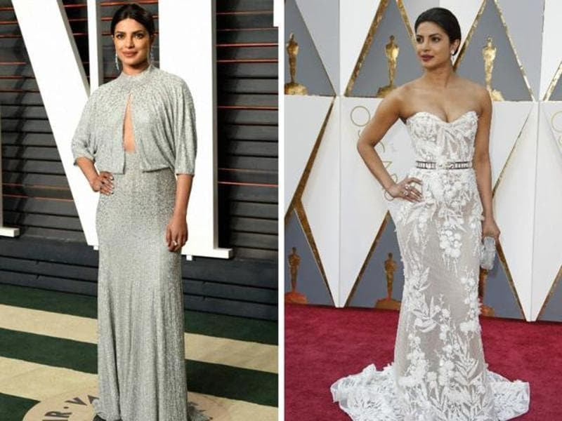 Whether the Vanity Fair after-party or the ginormous Oscar red carpet, Priyanka Chopra aced the game. She is right there among the stars who aced both the looks on Monday.  (Agencies)