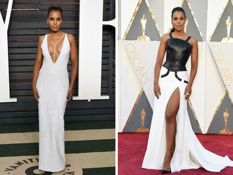 Kerry Washington wore the white gown (r) to the after-party. We like her red carpet gown (l) better but together they make for two great dresses to wear when the world is watching you.