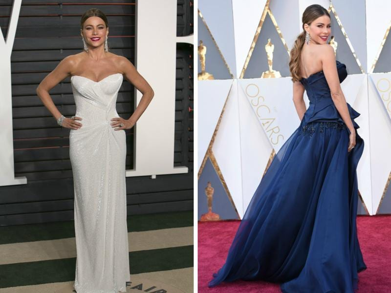 Sofia Vergara would look good in a sack. But we sure are glad she wore these amazing gowns  -- white one for the after party and that gorgeous blue -- wait while we gasp -- dress on the red carpet.