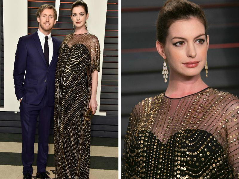 Anne Hathaway was missing in action at the Oscar ceremony too but we have to have her on this list. From the pregnant glow to sequinned dress to the earrings... *die of happiness*