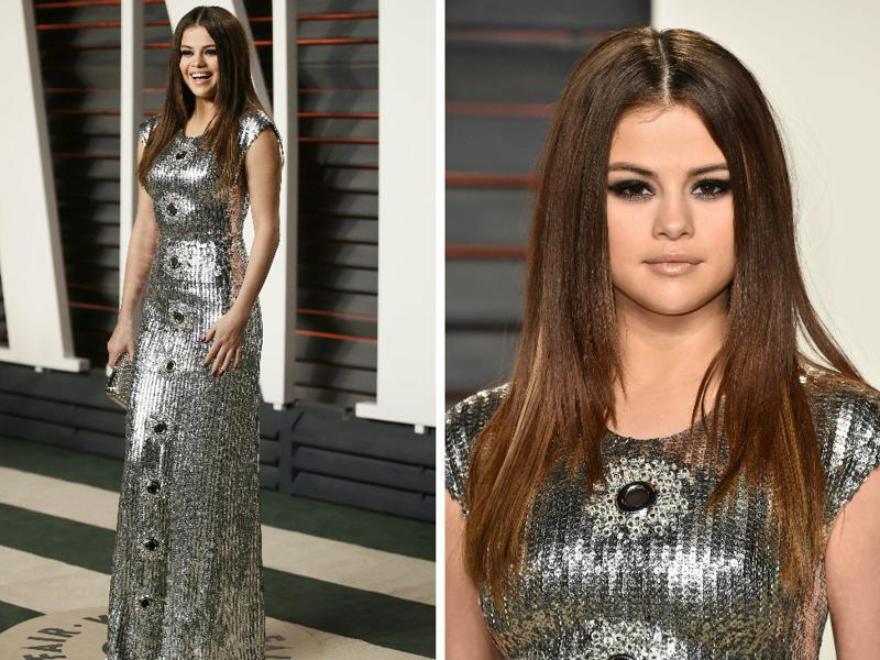 Selena Gomez is a picture. That casual hairdo goes great with the blingy silver dress. As we said, a picture.