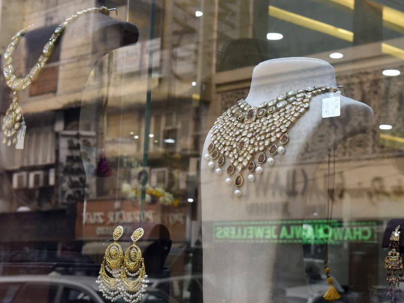 Jewellers across India started a three-day strike on Wednesday in a bid to force the government to shelve plans for a controversial excise tax announced in the union budget this week.In this picture, a jewellery shop in Delhi is seen.  (Ravi Choudhary/HT Photo)