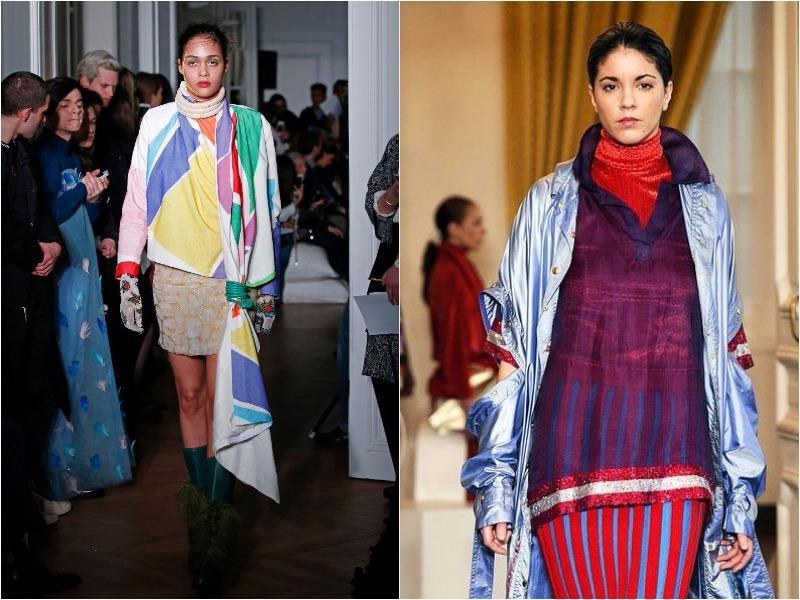 "Liselore Frowijn: The young Dutch designer showed some colorful looks, going heavy on yellow, green, purple, red and blue, as seen on coats and dresses. The collection was directly inspired by the work of artist Niki de Saint Phalle, particularly her ""Nana"" series of sculptures. (March 1, 2016). (Agencies)"