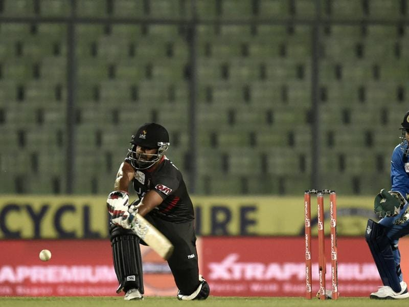 United Arab Emirates cricketer Muhammad Usman plays a shot. (AFP Photo)