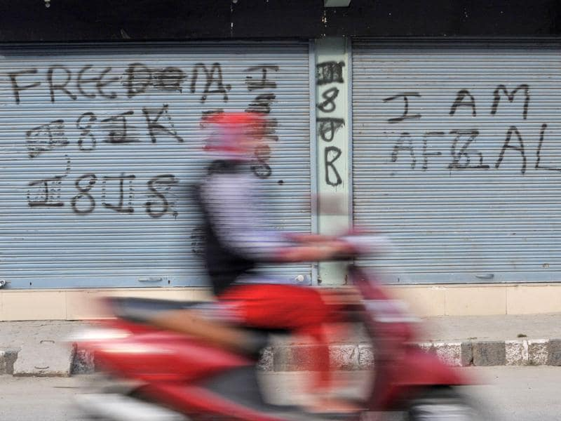 The separatist leadership of the Valley perceives the graffiti as the pouring out of the inner emotions of the common Kashmiris. (Waseem Andrabi//HT Photo)