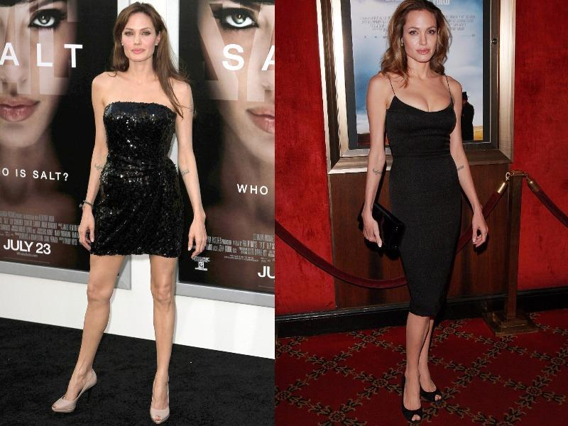 Angelina Jolie: One of her LBD has a shimmer to it, which is perfectly neutralized with the nude peep toes she is wearing.  Both her black dresses look so stunning that they don't need no accessories.