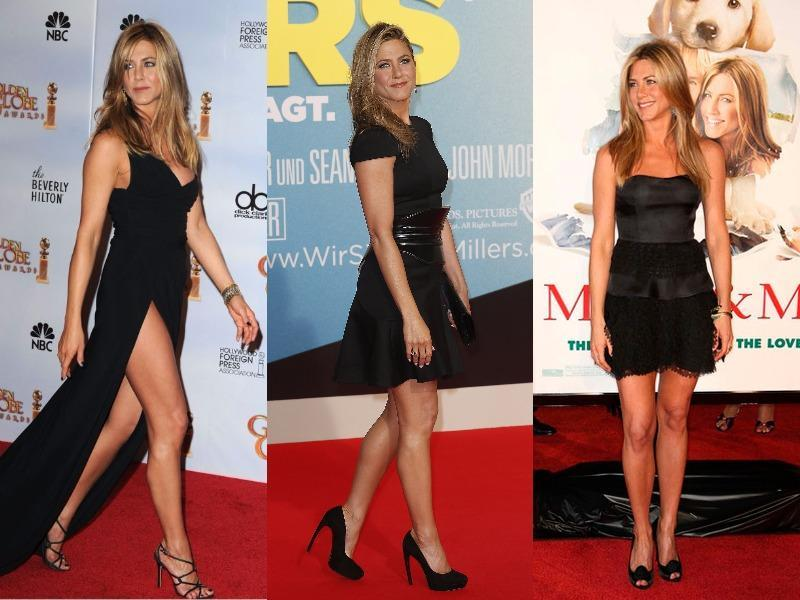 Jennifer Aniston: We will begin with the famous Friends star. She is 40 something and still looks so gorgeous. Her LBDs look great with the most perfect earrings and the even more gorge clutches (Oh and those sandals!)
