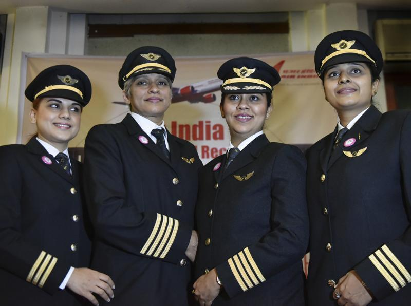 See the pride in the eyes: (Left to right) First Officer Captain Amrit Namdhari, Captain Kshamta Bajpayi , Captain Shubhangi Singh and First Officer Captain Ramya Kirti Gupta feel the pride of being on what would be the longest ever all-women flight in the world. (Vipin Kumar / HT Photo)