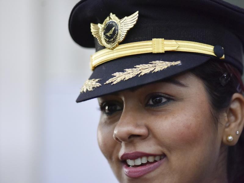 """You need to work hard. There is no shortcut to success. I come from a modest family, and without any aviation background. I am overwhelmed to be a part of an all-women crew in the history of aviation,"" says Captain Shubhangi Singh, one of the commanders of AI 173. (Vipin Kumar / HT Photo)"