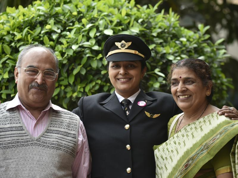 'Glad you're our daughter!': First Officer Captain Ramya Kirti Gupta with her parents at the function to celebrate a historic New Delhi -San Francisco flight. (Vipin Kumar / HT Photo)