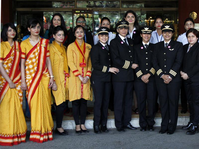 """The airline has immense respect for women and this flight would be a symbol of women empowerment,"" Ashwini Lohani, CMD, Air India. The historic flight will take off from IGI Airport in New Delhi to San Francisco on March 6, 2016, two days before the International Women's Day. (Waseem Gashroo/ HT Photo)"