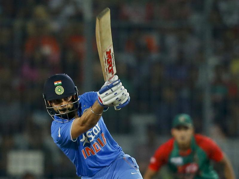 India's Virat Kohli plays a shot during the Asia Cup Twenty20 international cricket final match. (AP Photo)
