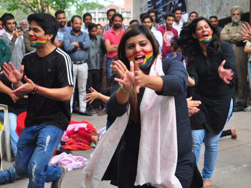 Students staging a street play during the LGBT parade, at Panjab University, Chandigarh, on Sunday. (Karun Sharma/ht)