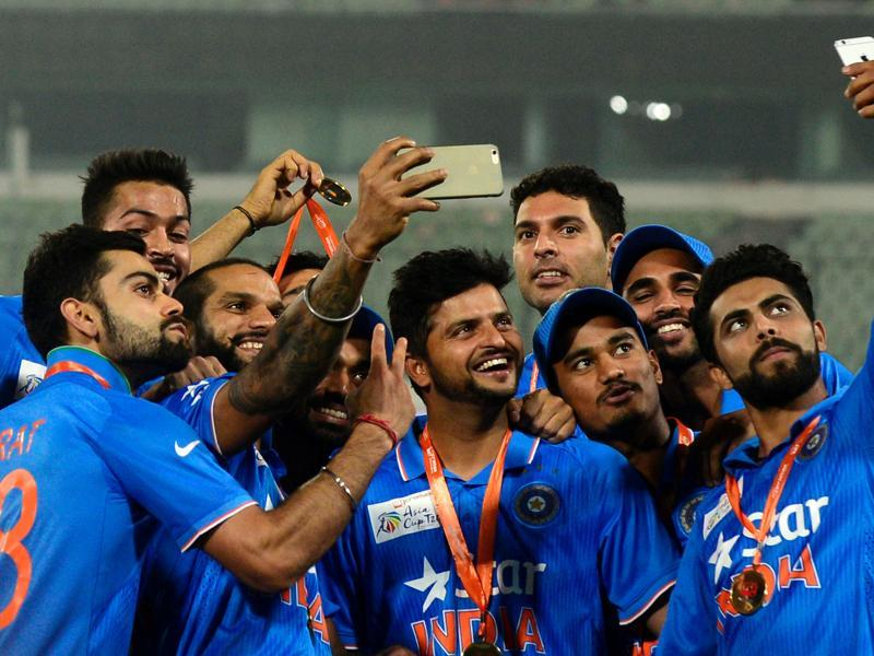 Team India pose for a selfie after their win. (AFP Photo)