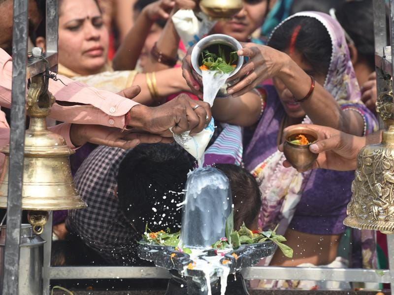 Devotees offer milk in honour of Lord Shiva, who is said to have saved the universe from darkness on this day. (Vipin Kumar/HT Photo)