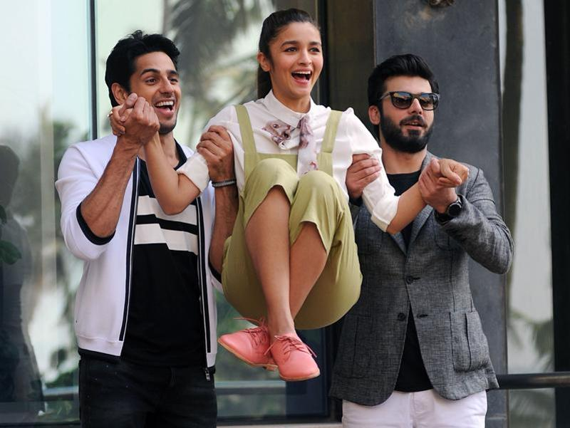 ActorsSidharth Malhotra, Alia Bhatt and Fawad Khan pose during a promotional event for the upcoming film Kapoor & Sons in Mumbai. (AFP)