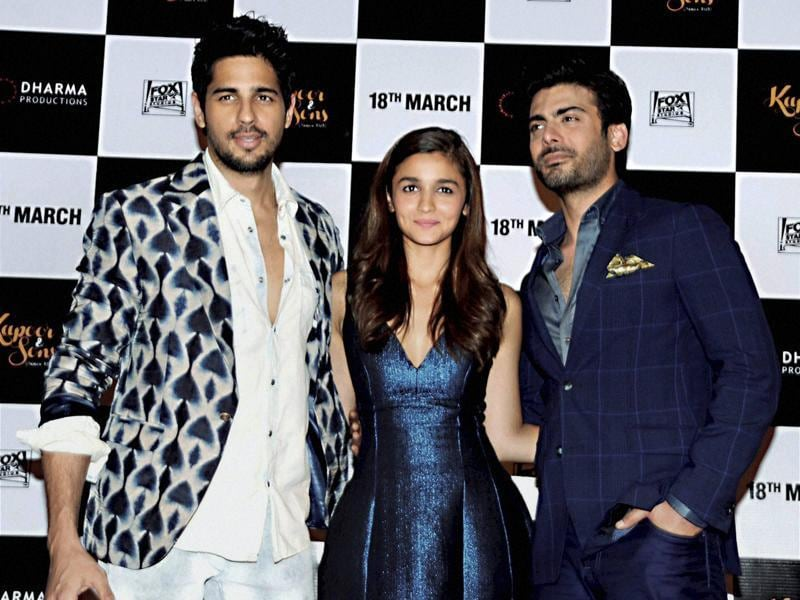 Actors Sidharth Malhotra, Alia Bhatt and Fawad Khan during the trailer launch of film Kapoor & Sons in Mumbai. (PTI)