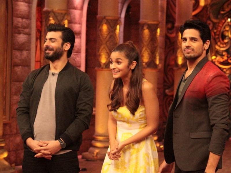 Actors Fawad Khan, Sidharth Malhotra and Alia Bhatt during the promotion of film Kapoor & Sons on the sets of television show Comedy Nights Bachao. (IANS)