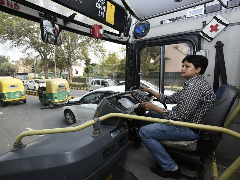 V Sarita, the first female DTC bus driver from Telangana, drives on the roads of the capital. (Arun Sharma/HT Photo)