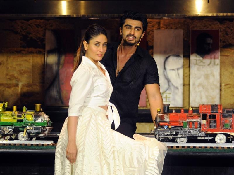 Kareena Kapoor poses with actor Arjun Kapoor after all the cooking was done. (AFP)