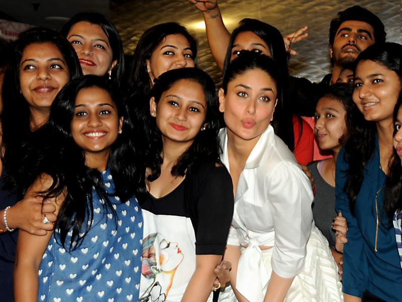 Kareena Kapoor (C) poses during the promotion of the forthcoming Hindi film Ki & Ka. (AFP)