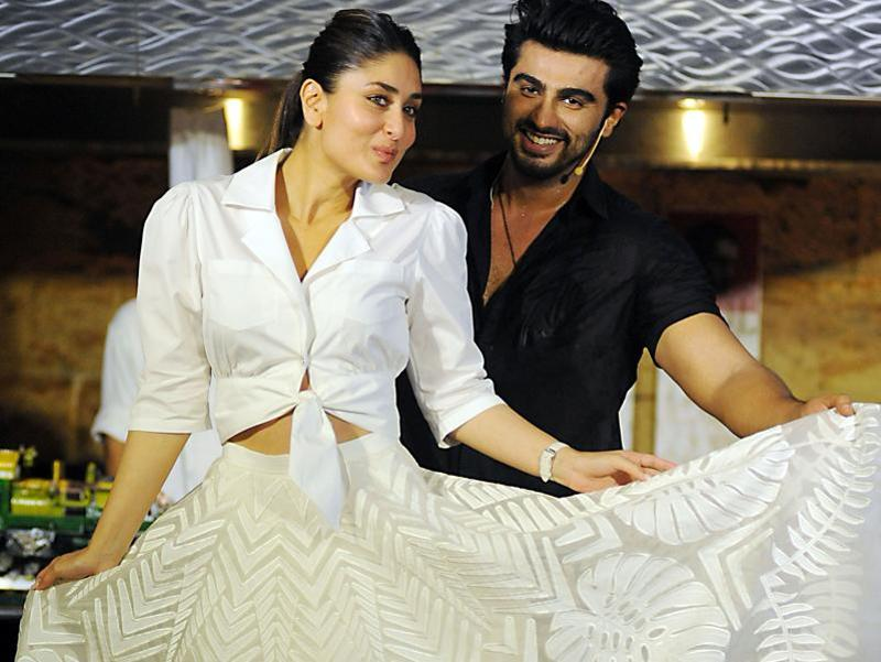 Kareena Kapoor poses with actor Arjun Kapoor during the promotion of the forthcoming Hindi film Ki & Ka. (AFP)