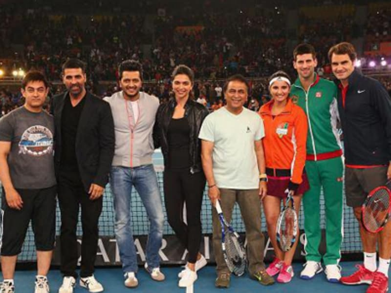 For all of you who are going to town over Deepika Padukone's dinner with tennis ace Novak Djokovic in  California, here's the news: they are old friends. Check out this 2014 picture from Indian Tennis Premiere League. (l-r) Aamir Khan, Akshay Kumar, Riteish Deshmukh, Deepika Padukone, Sunil Gavaskar, Sania Mirza, Novak Djokovic and Roger Federer.  (Twitter)