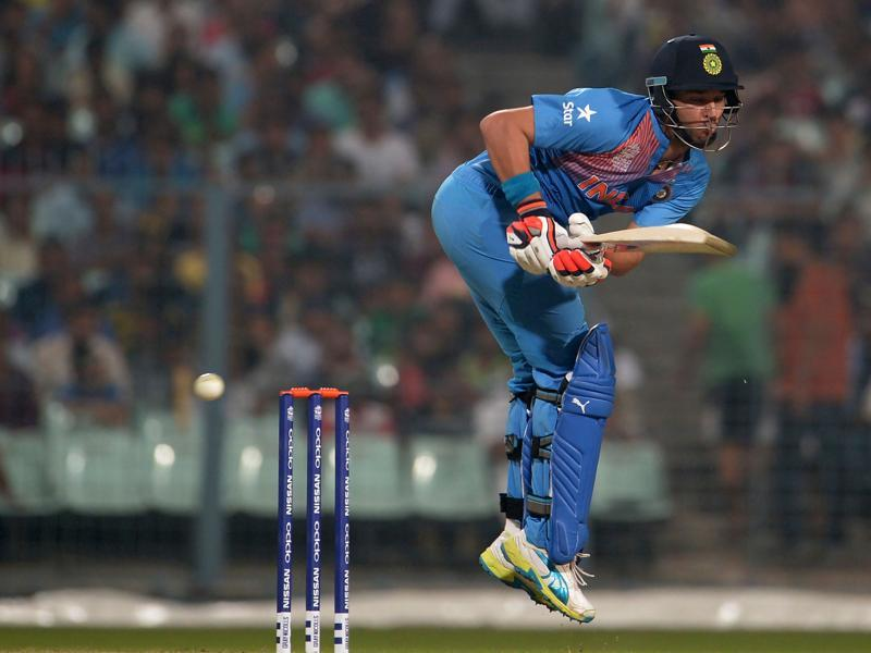 India's Yuvraj Singh plays a shot during a warm-up match. (AFP Photo)