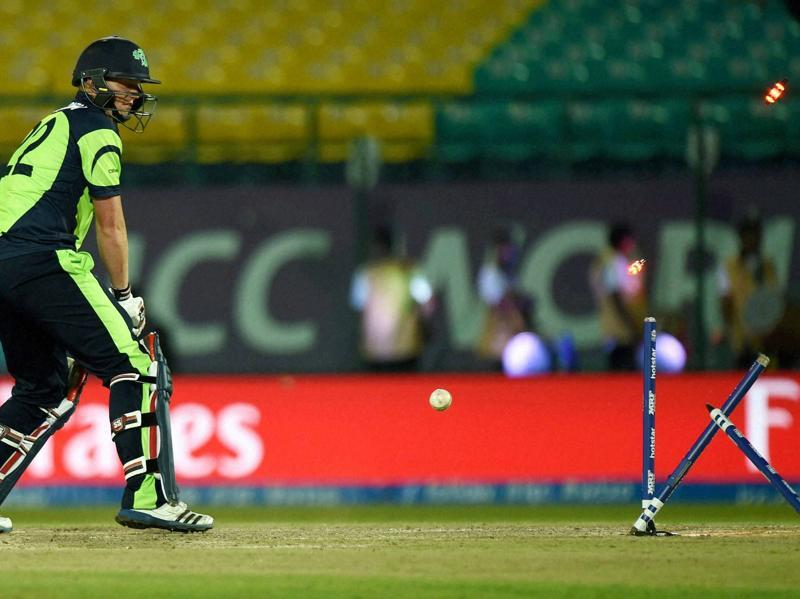 Ireland batsman Kevin O'Brien gets clean bowled.  (PTI)