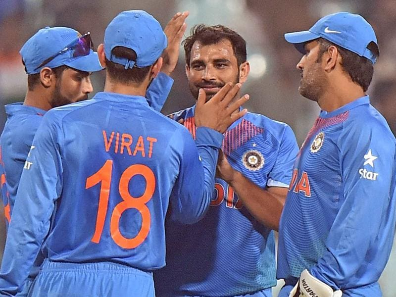 India's bowler Mohammad Shami celebrate a wicket against West Indies. (PTI Photo)