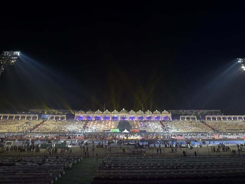 A general view of the stage prepared for the World Culture Festival being organised by Art of Living at the Yamuna Bank in New Delhi. (Ravi Choudhary/HT Photo)
