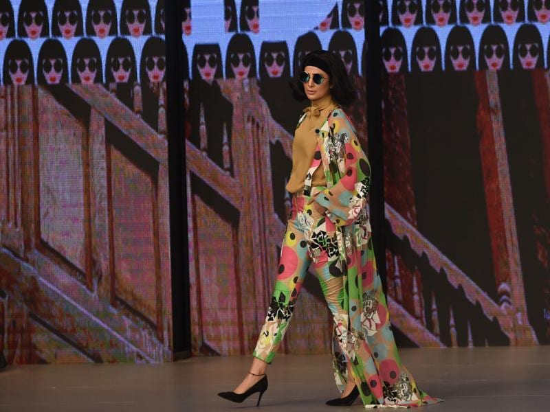 A model presents a creation by Pakistani designer Feeha Jamshed. (AFP)