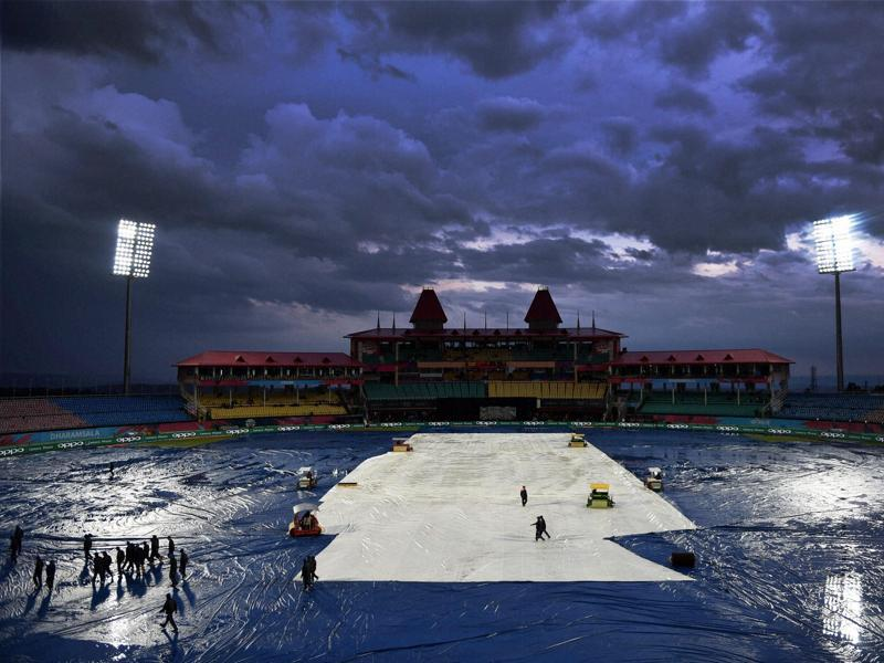 T20 world cup match between Oman and Netherlands was called off due to rains in Dharamshala. (PTI Photo)