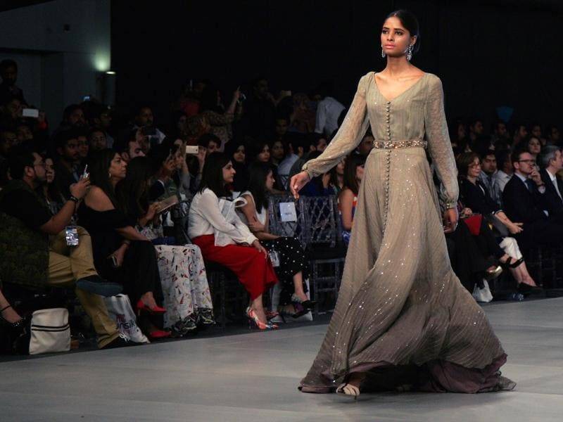A model presents a creation by designer Maria B. A lot of Indian women opt for Pakistani designs for their wedding trousseau as they emanate incredible grace and beauty.  (AP)