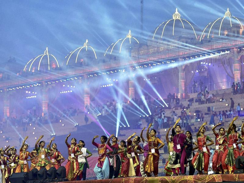 Artists perform during a rehearsal of the opening ceremony of the three-day event. (PTI Photo)