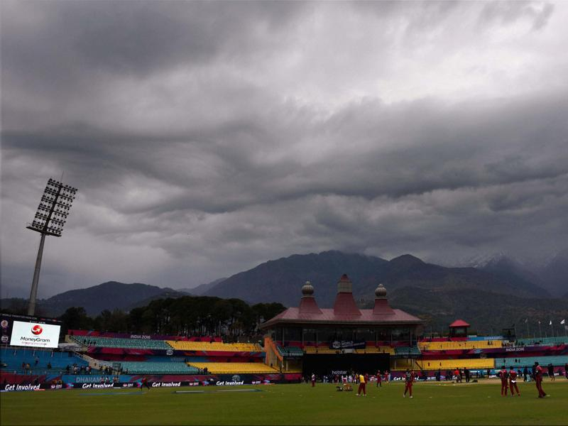 Dark clouds hover over HPCA Stadium during the T20 World Cup match between Oman and Netherlands in Dharamshala. (PTI Photo)