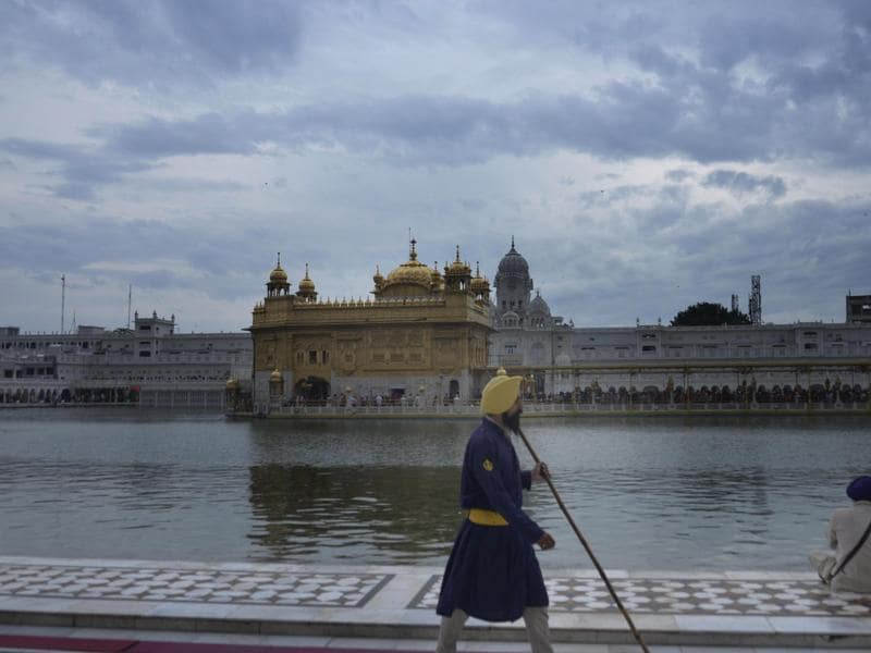The Golden Temple on a cloudy day in Amritsar on Saturday.   (Sameer Sehagl / HT )