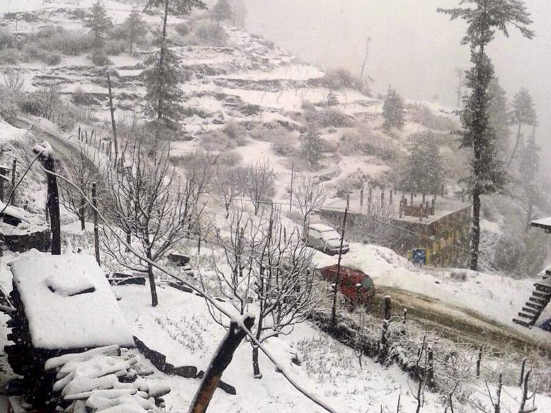 Fresh snowfall in Kotkhai, Shimla district , on Saturday. (HT Photo)