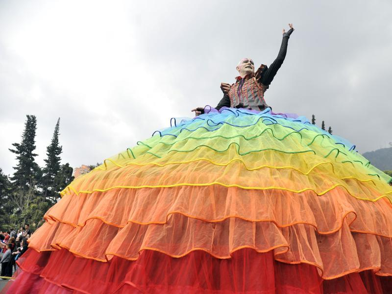 A dancer performs during the inaugural parade in Bogota on Saturday. (AFP)