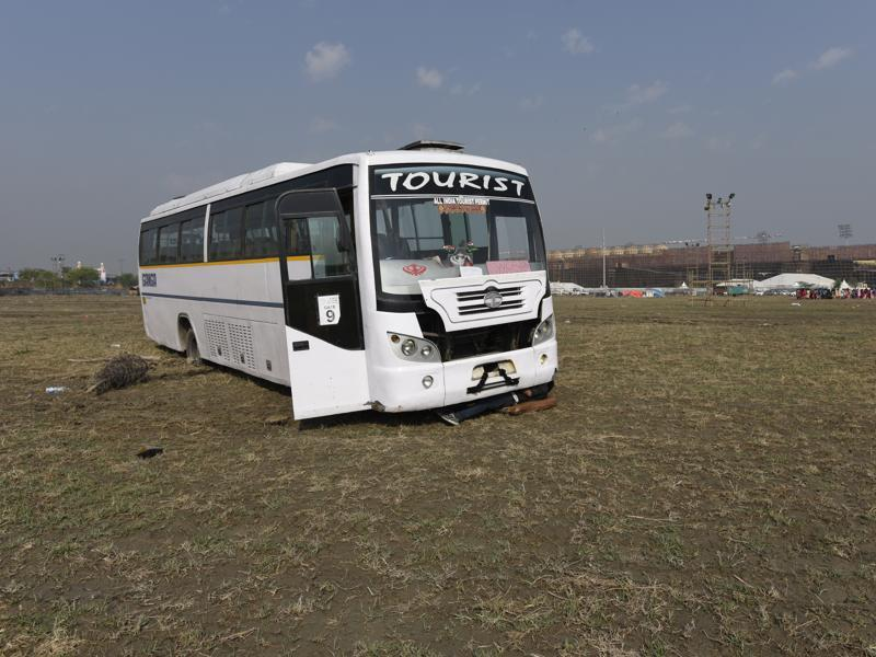 A bus stranded at the World Culture Festival venue. (Sonu Mehta/HT Photo)