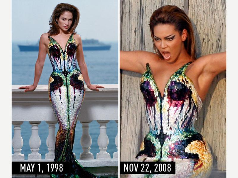 In fashion, as in life, everyone needs someone they can look up to. For some people, that person is Beyonce. For Beyonce, that person would appear to be Jennifer Lopez. Just look at all the outfits they have in common! Multicoloured sequined mermaid gown: JLo in Cannes, France, on May 1, 1998. Beyonce shooting a scene for the Diva music video on Nov 22, 2008. (Pinterest)
