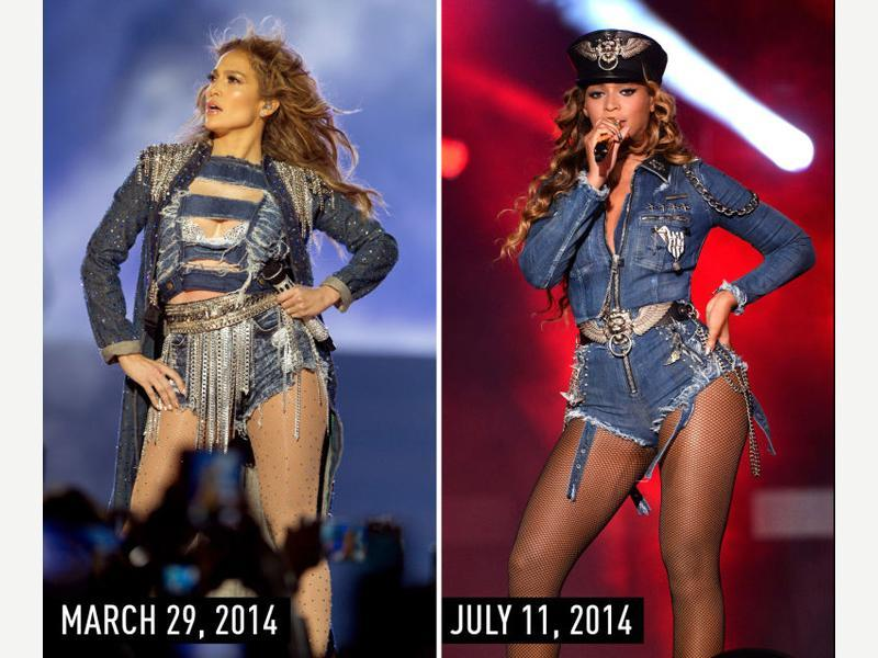 Distressed denim shorts suit with chain details and long, wavy hair: JLo performing at the Meydan Racecourse in Dubai on March 29, 2014. Beyonce performing in New Jersey during her On the Run tour on July 11, 2014. (Pinterest)