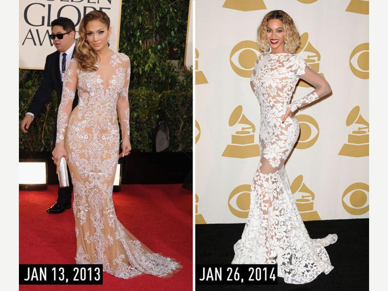 Formal white lace naked dress with long sleeves and a short train: JLo at the Golden Globe Awards on Jan 13, 2013. Beyoncé at the Grammy Awards on Jan 26, 2014. (Pinterest)