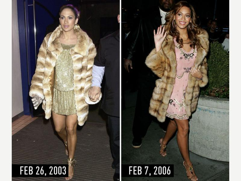 Beige fur coat with sparkly minidress, strappy sandals, and hoop earrings. JLo at the London premiere of Maid in Manhattan on Feb 26, 2003. Beyonce arriving at TRL at MTV Studios in NYC on Feb 7, 2006. (Pinterest)