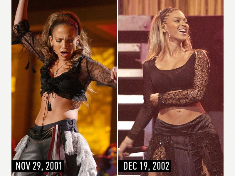 Black crop top with sheer sleeves, black bottoms, and pulled-back hair: JLo performing at the Onda Music Awards on Nov 29, 2001. Beyonce performing on Dec 19, 2002. (Pinterest)