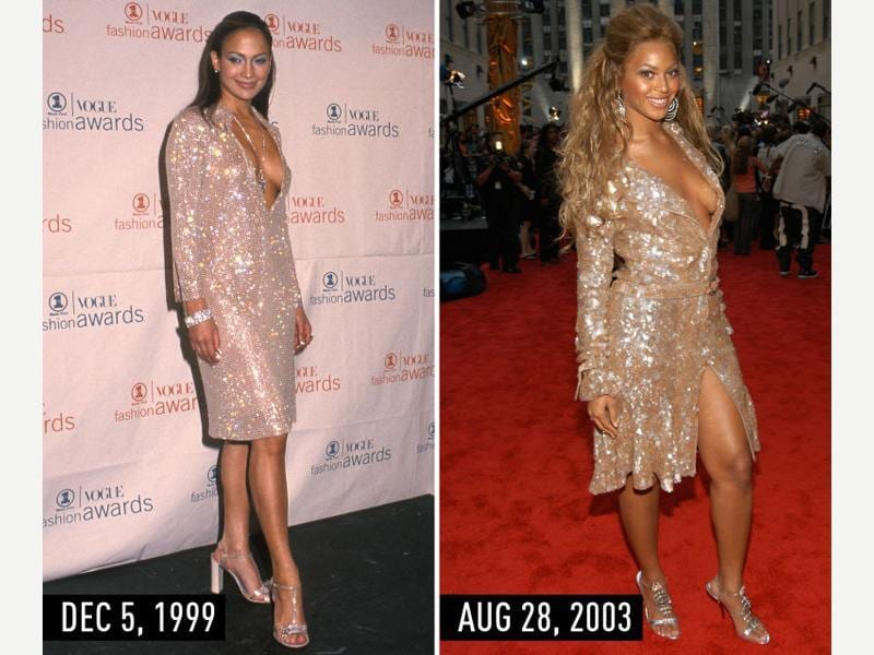 Tan, long-sleeve, sparkly shirtdress with plunging neckline, embellished T-strap sandals, diamond jewelry, and half-up hair: JLo at the VH1/Vogue Fashion Awards on Dec 5, 1999.  Beyonce at the MTV Video Music Awards on Aug 28, 2003. (Pinterest)