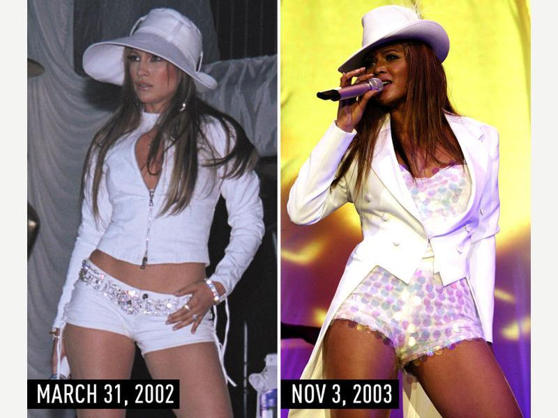 Little white suit with matching hat, lots of sparkles, and flat-ironed hair: JLo performing at the White Party on March 31, 2002. Beyonce performing during her UK tour on Nov 3, 2003. (Pinterest)
